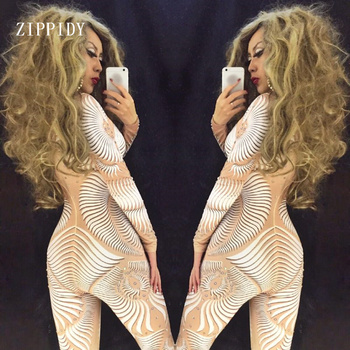 Sexy White Nude 3D Pattern Jumpsuit Sexy Nightclub Bar Wear AB Rhinestones Jumpsuit Costume Prom Birthday Celebrate Outfit